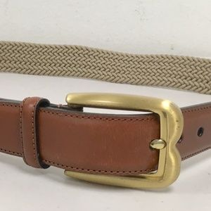 Bally Italy Brown Leather woven stretch belt 34